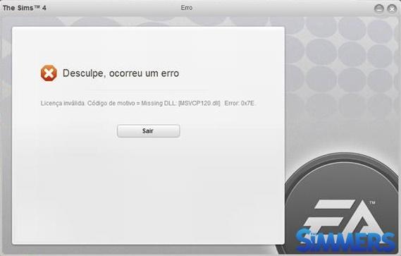 Arquivo msvcp120.dll faltando na inicialização do The Sims 4