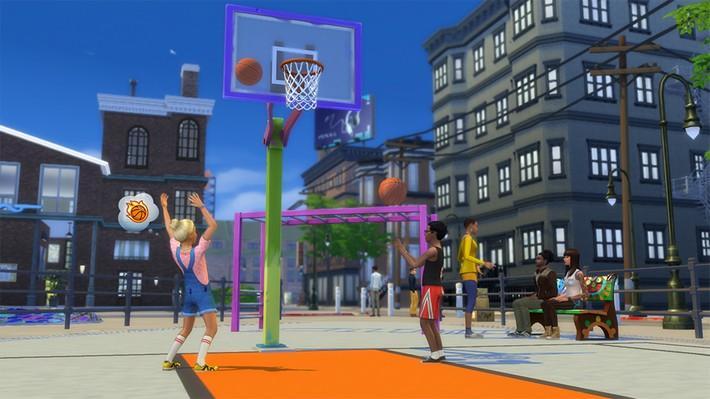 jogue-sem-parar-com-os-videogames-e-a-bola-de-basquete-no-the-sims-4-vida-na-cidade-2