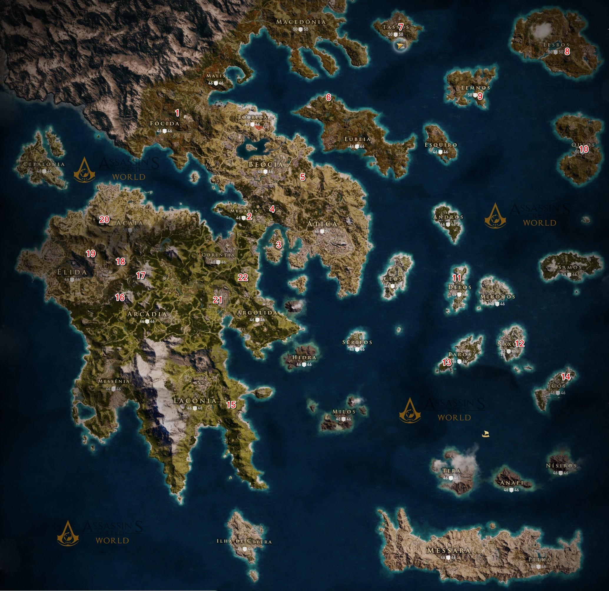 Mapa das Tumbas de Estela - Assassin's Creed Odyssey 2