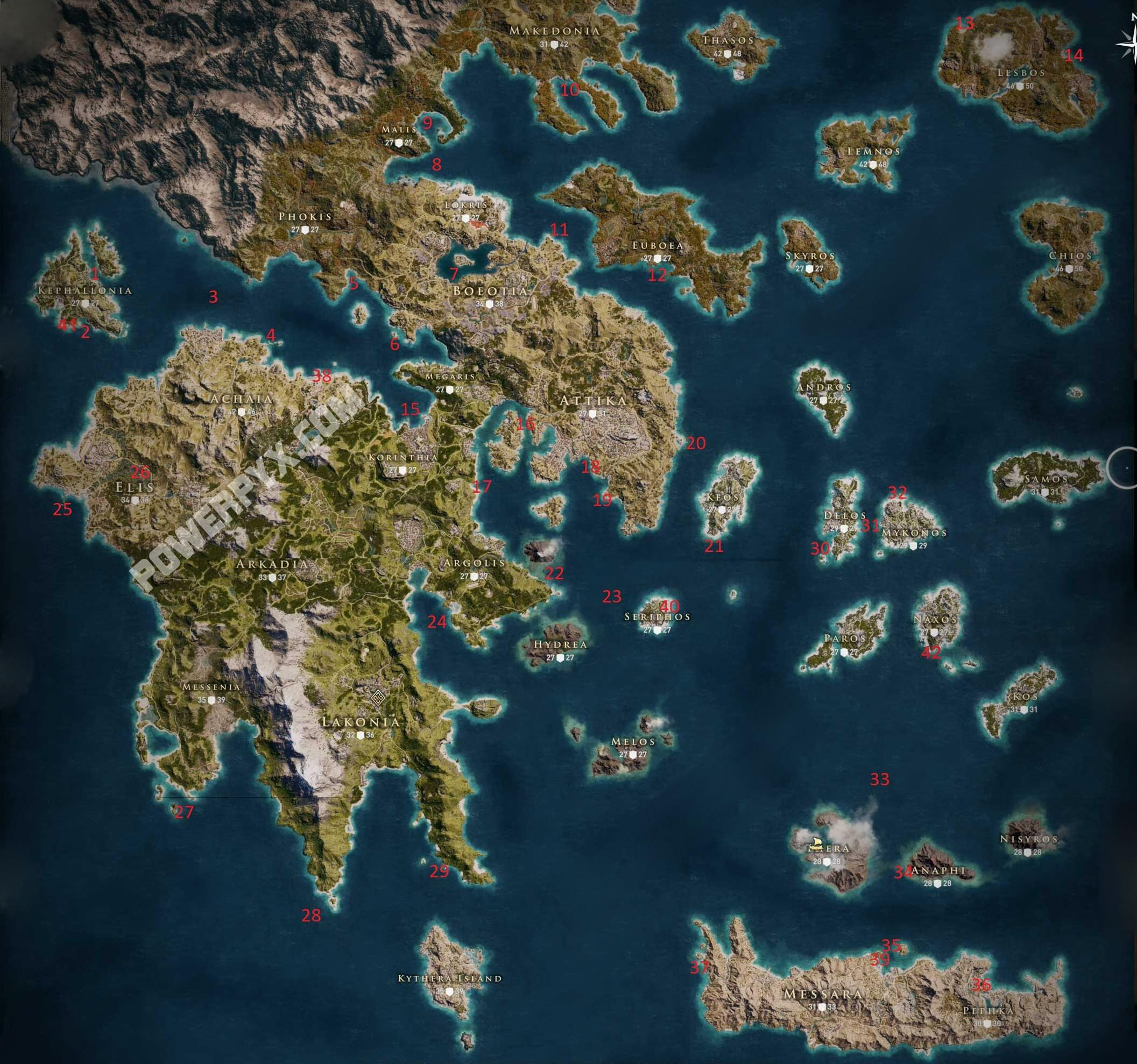 mapa locais submersos assassin's creed odyssey