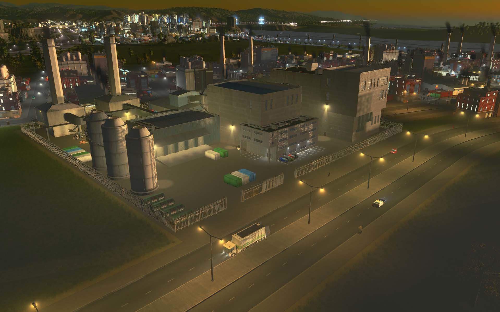 Um complexo de processamento de resíduos em um local perfeito para o processamento de lixo: longe da cidade, em um distrito industrial.