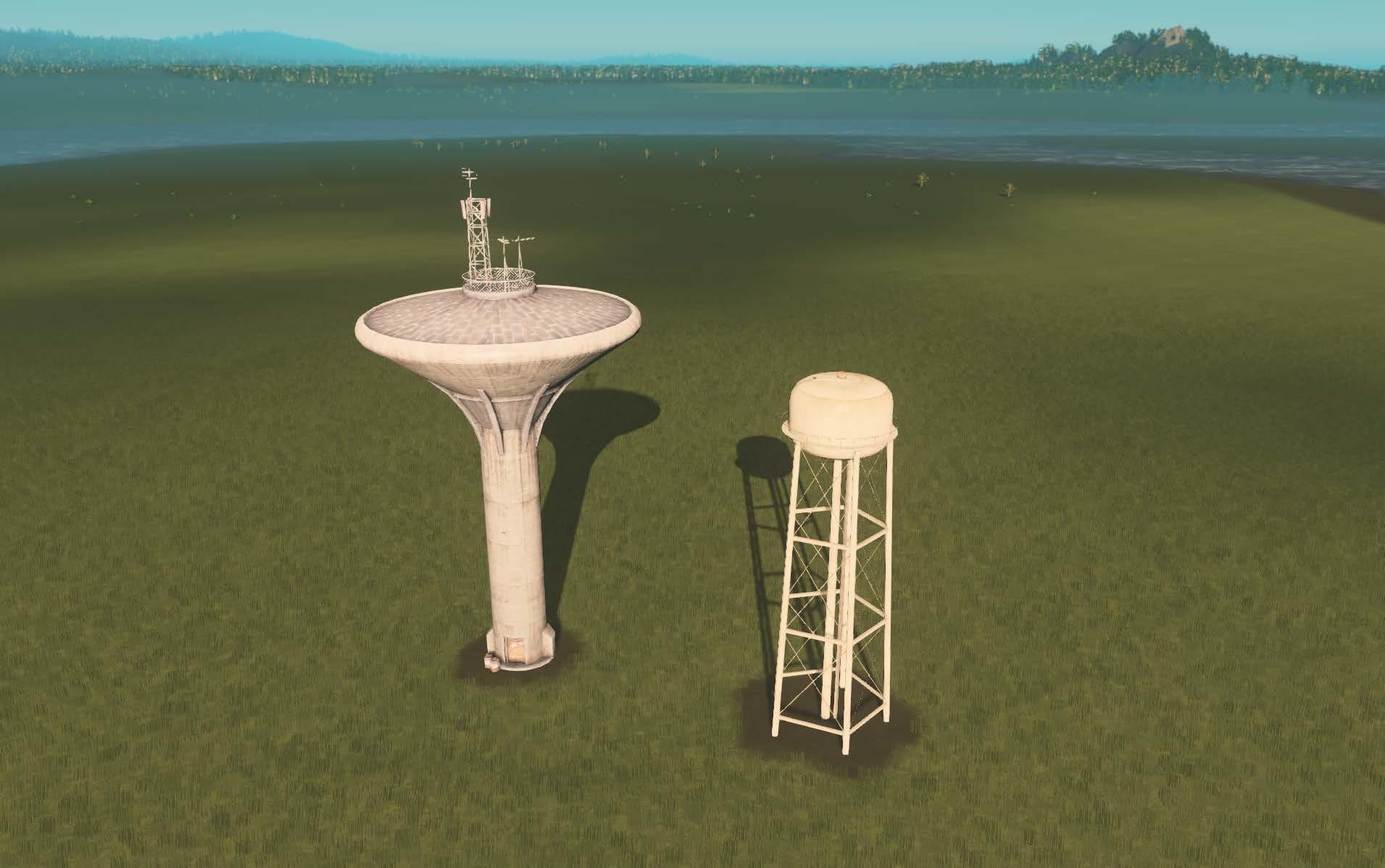 Grande Torre de Água comparado ao seu irmão menor.