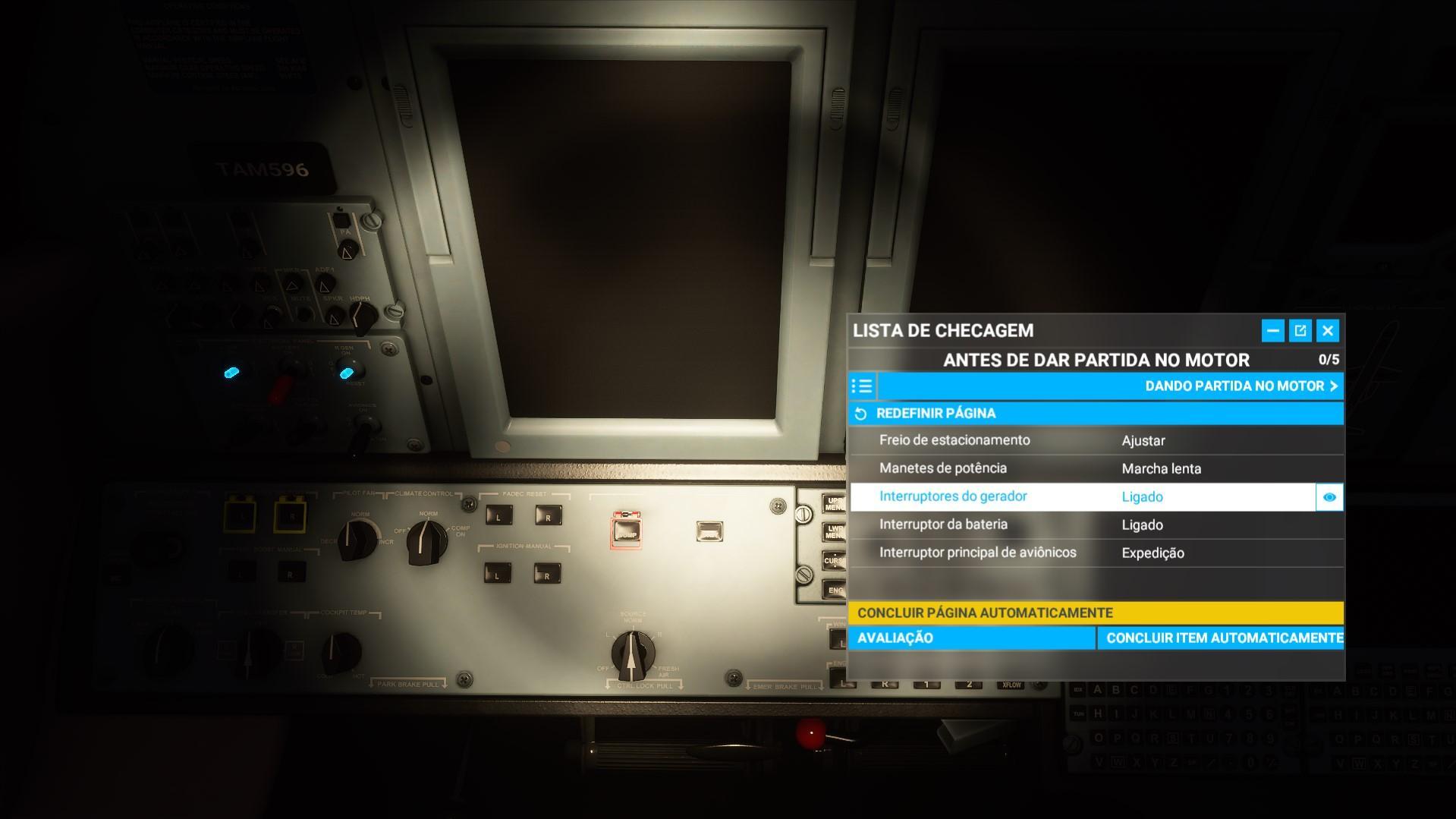 Antes de dar partida no motor flight simulator
