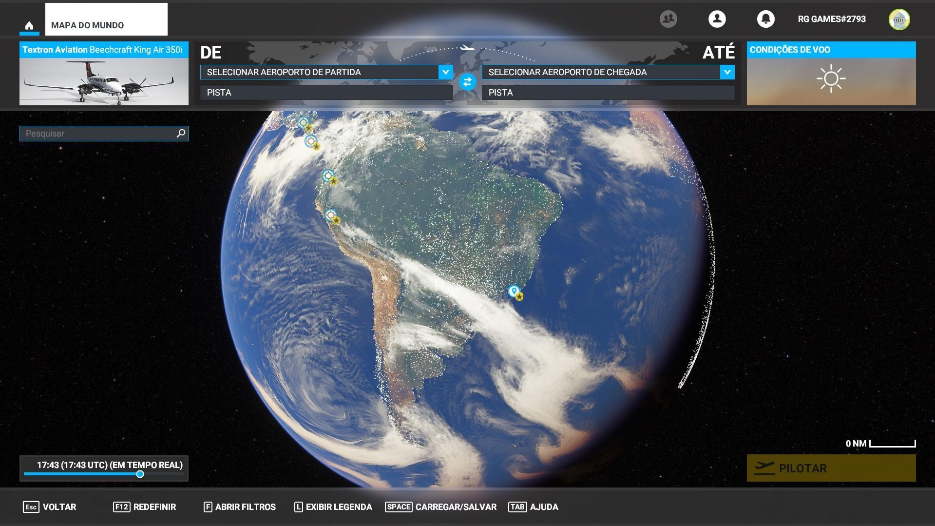 Mapa do Mundo - Flight Simulator
