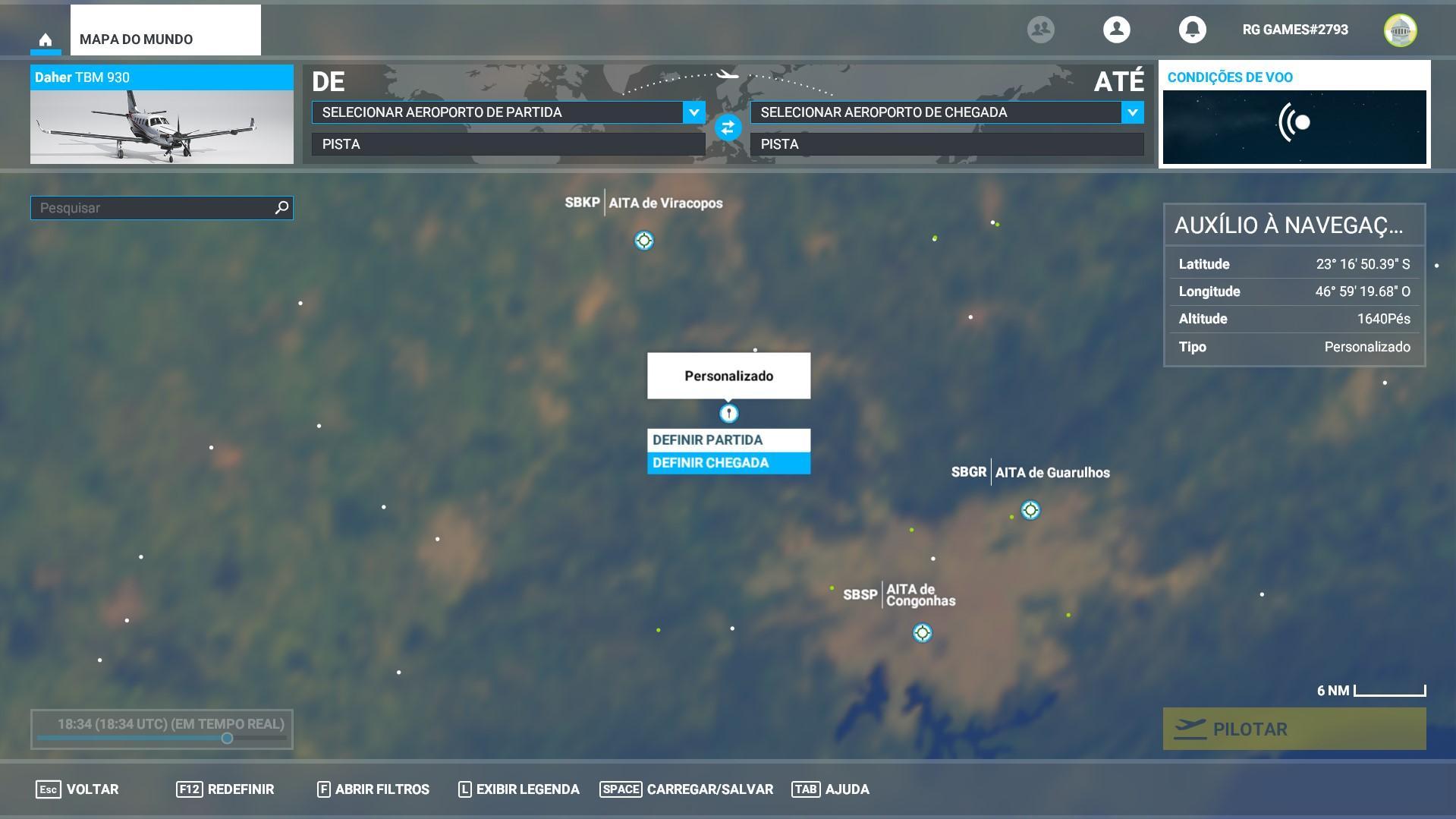 Microsoft Flight Simulador Partida personalizada