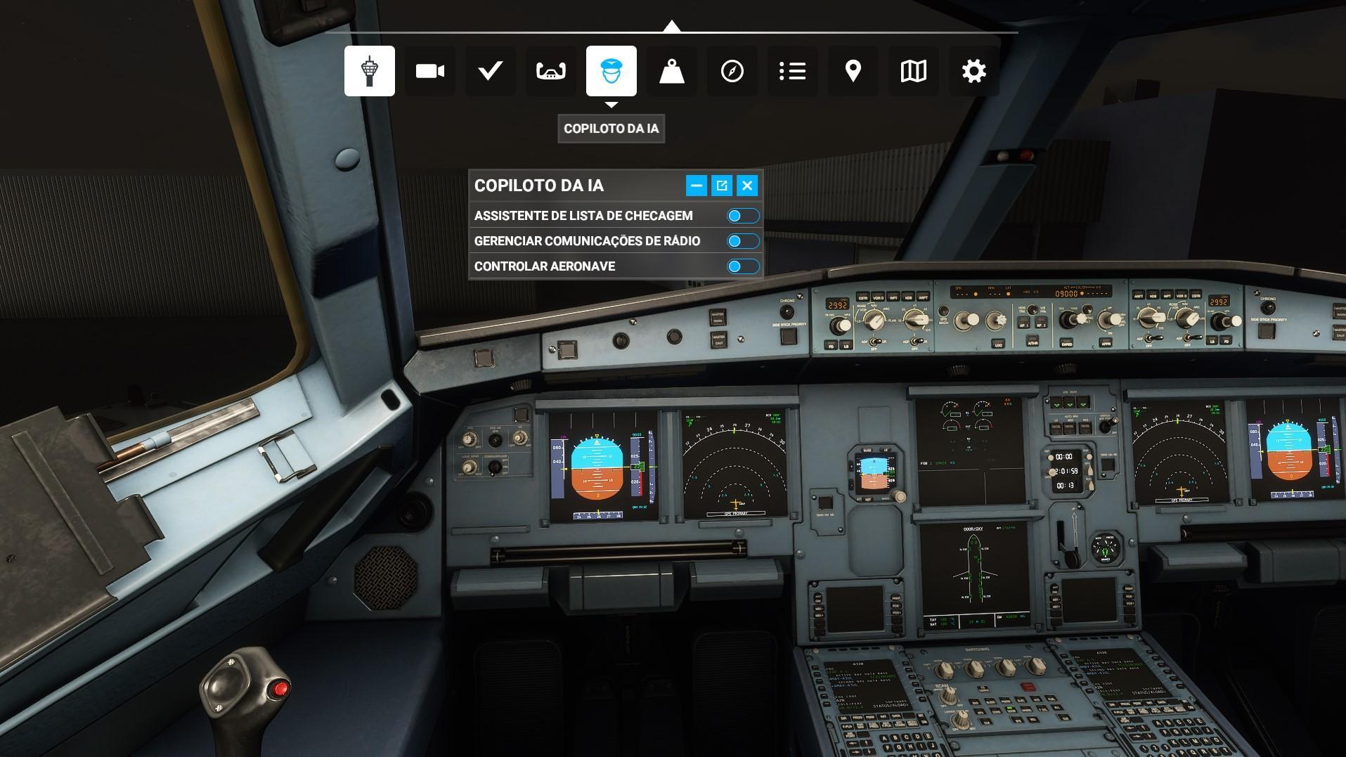 Os copilotos da IA ajudam bastante nas comunicacoes de radio e check list