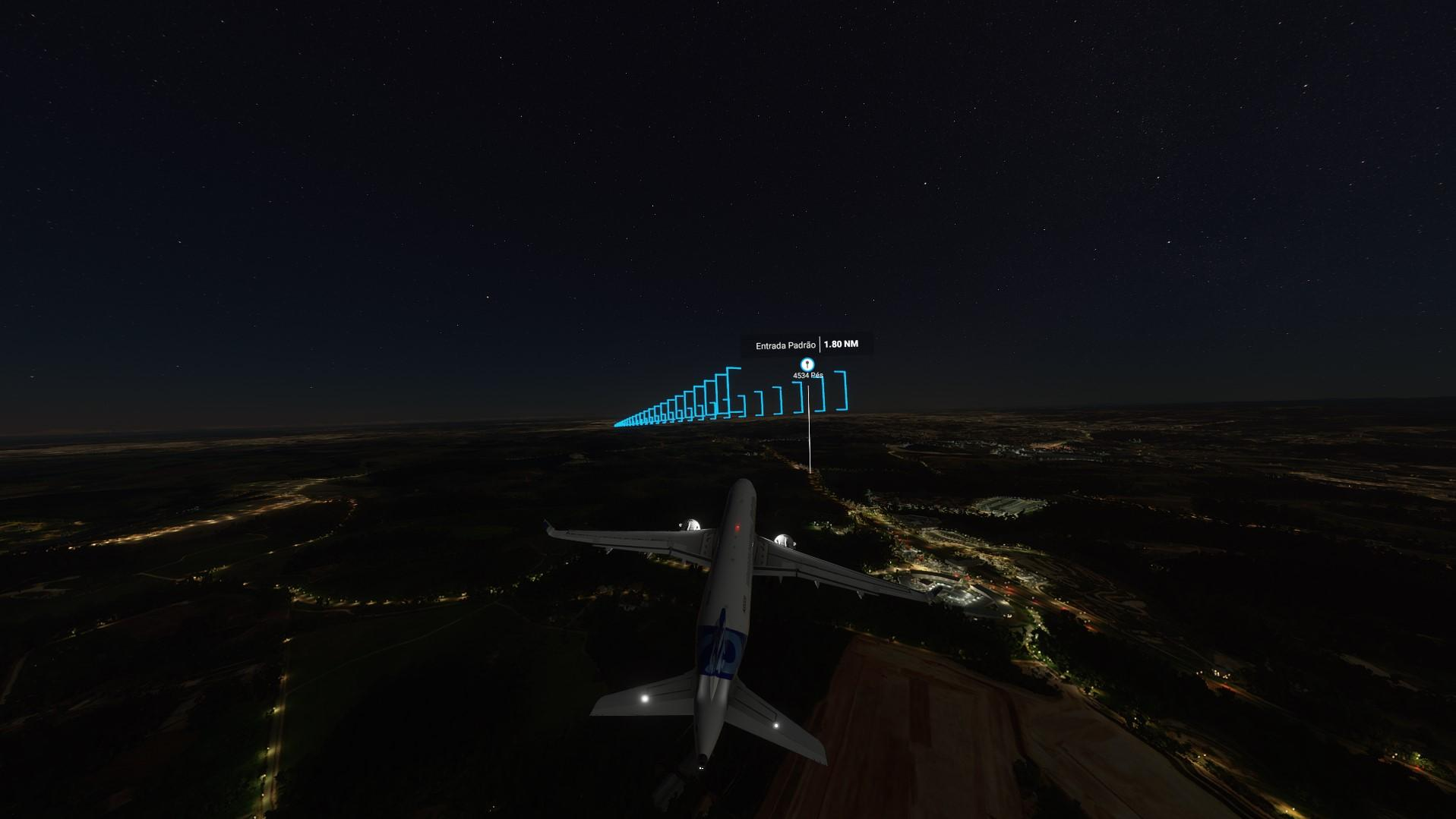 Pousando aviao comercial