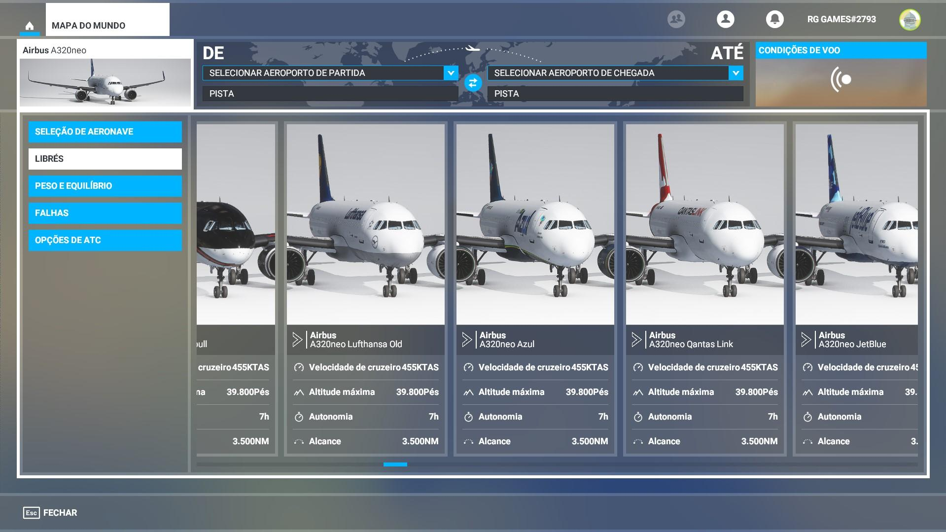 Miniaturas padronizadas do MegaPack de Pinturas / Skins do Microsoft Flight Simulator